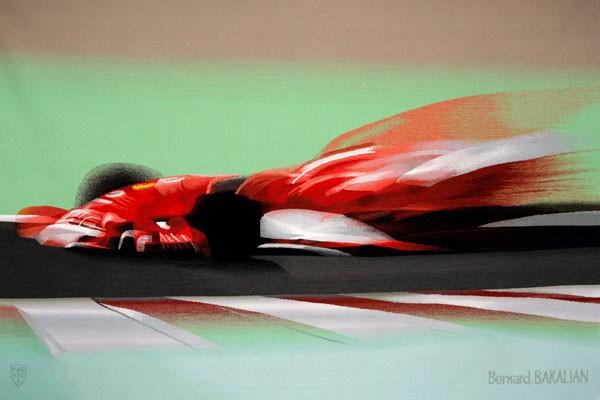 Cette nouvelle tapisserie d'Aubusson contemporaine intitulée : « METEORA ROSSA », représente la Ferrari F1 de Michael SCHUMACHER, photographiée dans la grande courbe à Magny-Cours, pendant le GP de France. Avec cette quatrième tapisserie, Bernard BAKALIAN célèbre le 60ème anniversaire de FERRARI et la fin de carrière du septuple champion du Monde de Formule 1. PAB : 40 avenue Félix Faure - 75015 Paris Tél : +33 1 45 57 74 66 Fax : +33 1 45 58 26 88 email : news@pabfrance.com www.pabfrance.com