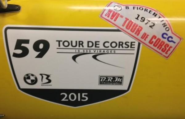 CORSE-2015-RALLYE-DES-10000-VIRAGES-la-CG-N°-59-de-Didier-MALGA-Anne-Valerie-BONNEL-avec-la-repriduction-de-la-plaque-de-Bernard-FIORENTINO-au-Tour-de-CORSE-1972.
