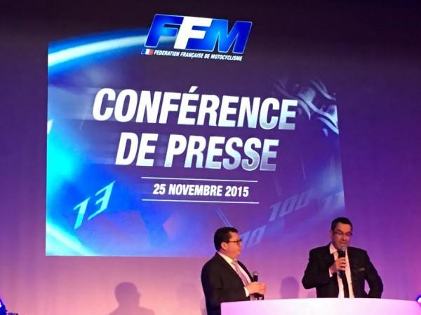 MOTO 2015 REMISE DES PRIX FFM - Le PRESIDENT Jacques BOLLE pendant sa conference de presse avec Remi TISSIER