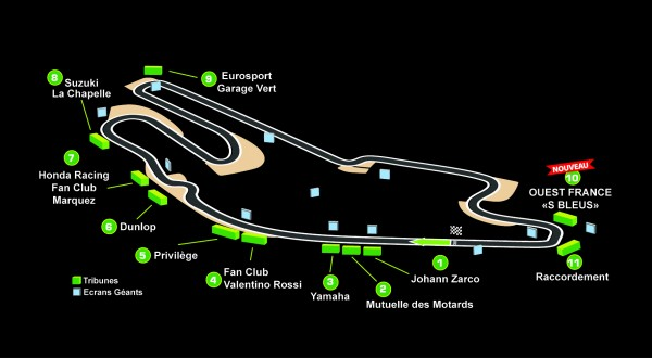 CARTE GÉNÉRALE DES TRIBUNES DU GP DE FRANCE 2015