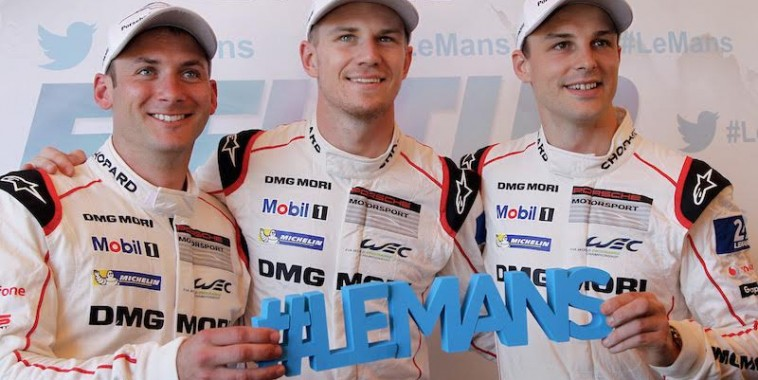 24-HEURES-DU-MANS-2015-PESAGE-Présentation-EQUIPE-PORSCHE-HULKENBERG-TANDY-BAMBER-Photo-Thierry-COULIBALY