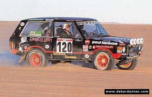 RALLYE PARIS DAKAR 1978-1979- La RANGE ROVER 1er leader de l'équipage Christophe NEVEU et Gilles GAIGNAULT