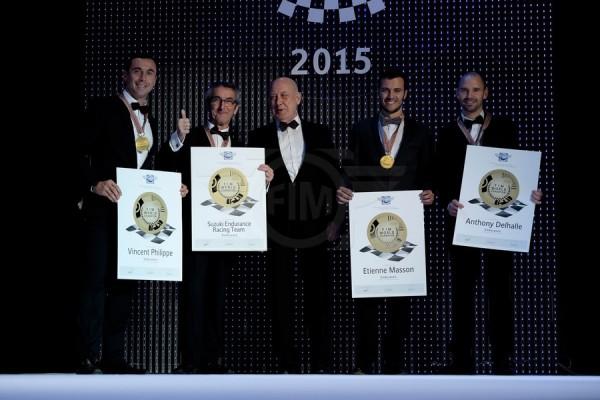 MOTO 2015 CEREMONIE DE REMISE DES PRIX DE LA FIM A JEREZ de la FRONTERA -LE TEAM SERT CHAMPION DU MONDE D ENDURANCE