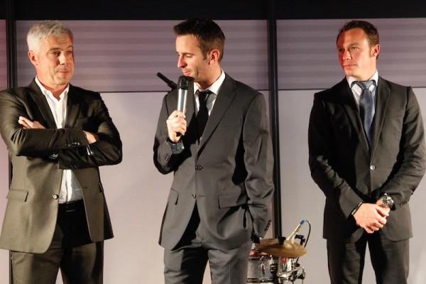 PORSCHE CUP 2015-Remise des Prix - Raymond NARAC Romain DUMAS et Patrick PILET - Photo Thierry COULIBALY