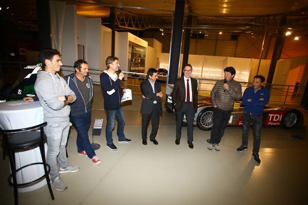 LE MANS PASSION Le Président de l'ACO Pierre FiLLON accueille les navigateurs et le pilote Paul Loup CHATIN au Musée Automobile du MANS