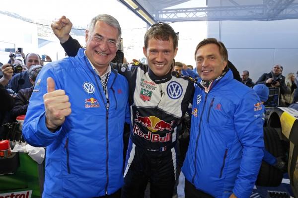 Dr. Heinz-Jakob Neußer, Sébastien Ogier (F), Jost Capito WRC Rally Monte Carlo 2015