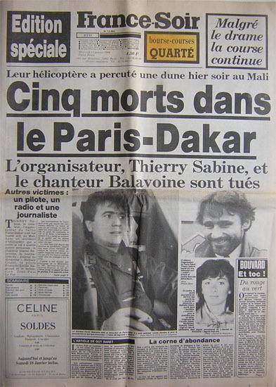 PARIS-DAKAR-14-JANVIER-1986-La-UNE-de-FRANCE-SOIR