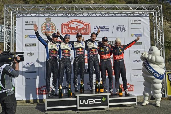 WRC 2016 MONTE CARLO - Le podium final avec OGIER - INGRASSIA- MiKKELSEN -JAEGER ET NEUVILLE - GILSOUL