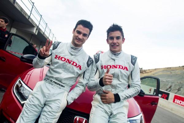 WTCC-2016-Avecles-pilotes-HONDA-de-MOTO-GP-Dani-Pedrosa-et-Marc-Márquez-à-Parcmotor-Castellolí