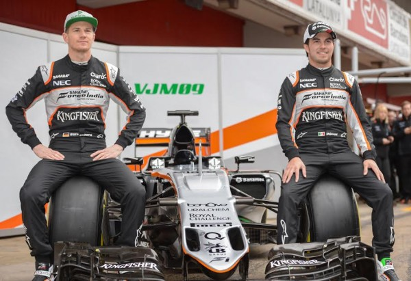 F1-2016-MONTMELO-22-fevrier-Présentation-Equipe-FORCE-INDIA-Nico-HULKENBERG-et-Sergio-PEREZ-Photo-Antoine-CAMBLOR