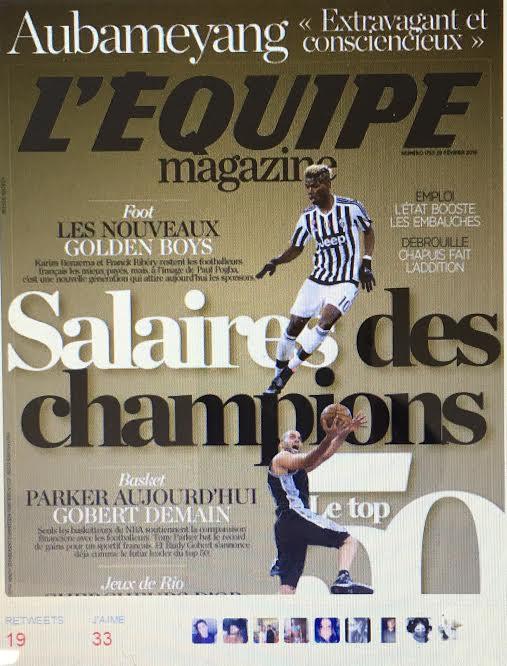 LES SPORTIFS FRANCAIS LES MIEUX PAYES EN 2015 selon l'Equipe Magazine