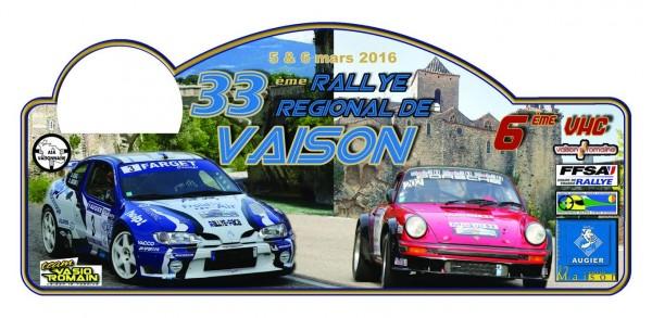 RALLYE DE VAISON LA ROMAINE 2016 Plaque rallye