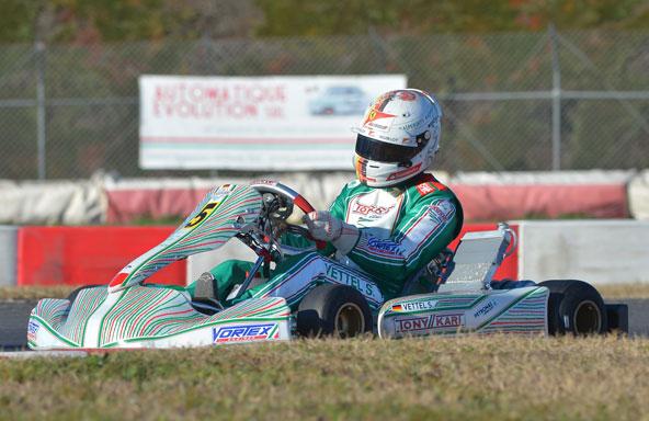 SEB VETTEL s'entraine en kart à LONATO le 4 fevrier, avant la Winter Cup
