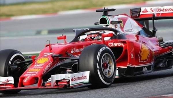 F1-2016-MONTMELO-Jeudi-3-mars-La-FERRARI-de-KIMI-RÄIKKONEN-TESTE-LE-SYSTEME-DE-PROTECTION-DU-COCKPIT-PILOTE-Photo-ANTOINE-CAMBLOR