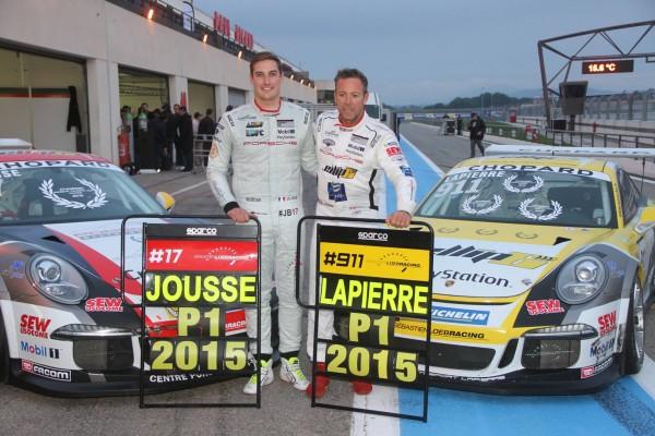PORSCHE CARRERA CUP 2015 Les deux CHAMPIONS DE FRANCE 2015 A et B - Maxime JOUSSE et Christophe LAPIERRE du Team SEB LOEB Racing. Photo