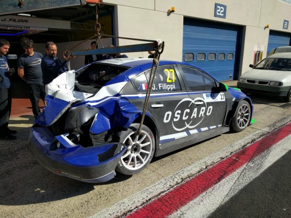 WTCC 2016 Test VALLELINGA ACCIDENT de la CHEVROLET de JOHN FILIPPI le 2 mars