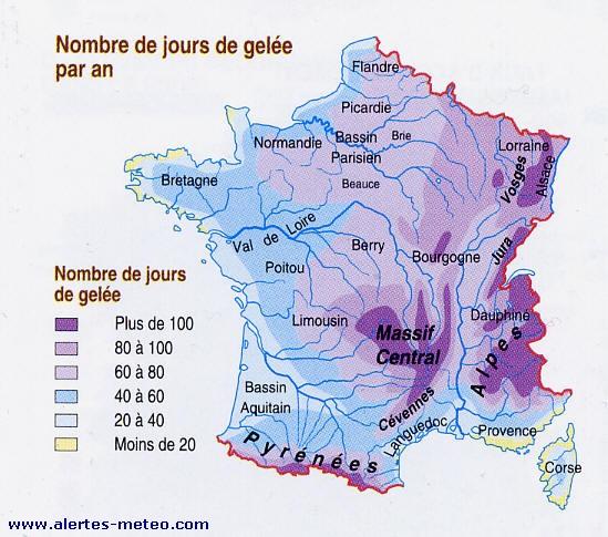 LA CARTE DES JOURS DE GELÉE EN FRANCE