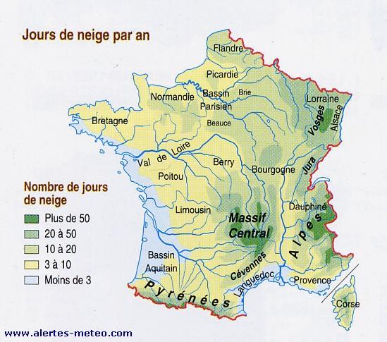 LA CARTE DES JOURS DE NEIGE EN FRANCE