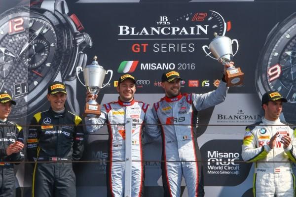 BLANCPAIN-2016-MISANO-Dimanche-10-Avril-VANTHOOR-VERVISCH-victorieux-de-la-course-principale-avec-leur-AUDI-du-Team-BELGIAN-WRT