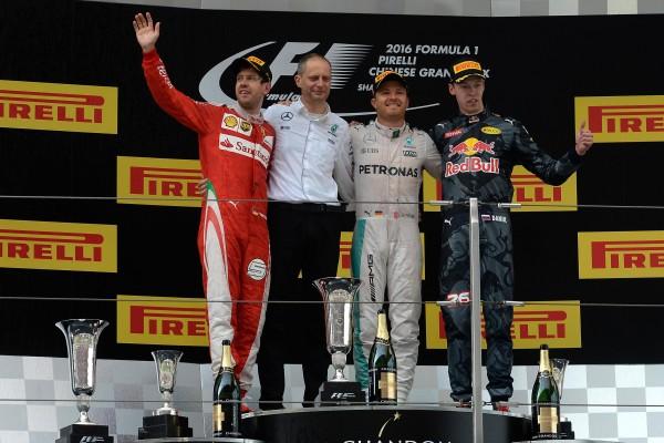 F1 2016 SHANGHAI -17 Avril - Le podium avec Nico ROSBERG le vainqueur devant Sebastian VETTEL et Daniil KVYAT