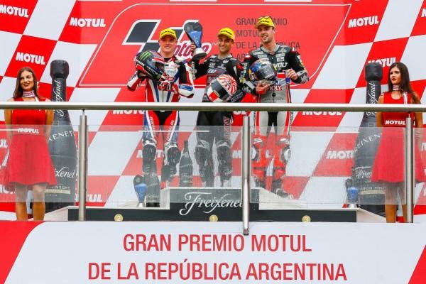 MOTO 2 2016 ARGENTINE - Le podium avec JOHAN ZARCO, le vainqueur
