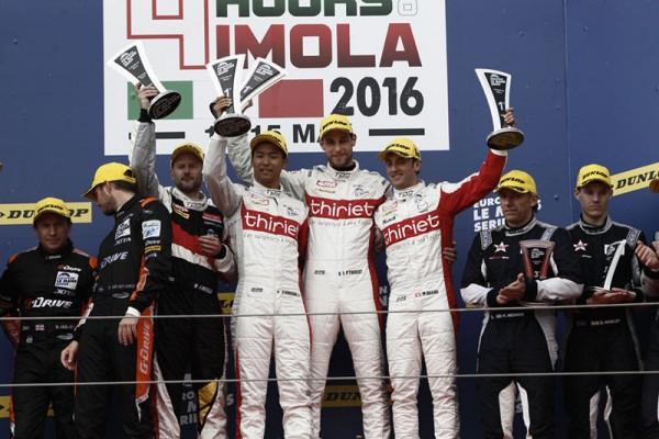 ELMS-2016-IMOLA-le-podium-avec-les-pilotes-THIRIET-sur-la-plus-haute-marche-BECHE-THIRIET-HIRAKAWA