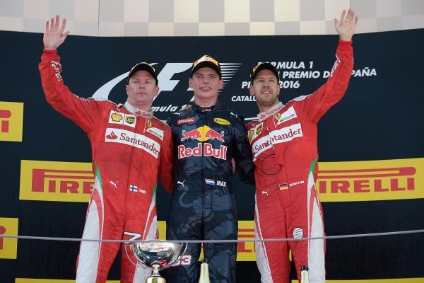 F1 BARCELONE Le podium avec Max VERSTAPPEN et le pilotes FERRARI le 15 Mai