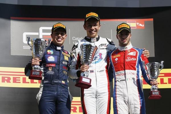 GP3-2016-BARCELONE-le-podium-de-la-seconde-course-avec-ALBON-TUNJO-et-FUOCCO-le-dimanche-15-Mai.