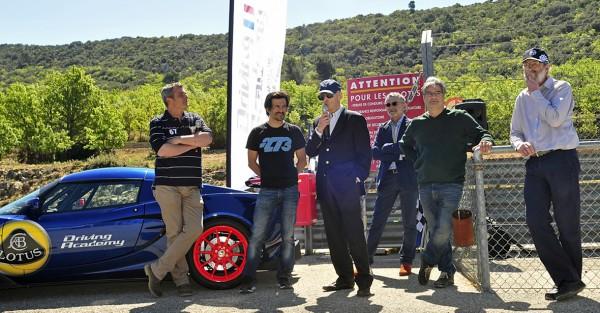 LOTUS DRIVING ACADELY - Inauguration sur le circuit du GRAND SAMBUC - Stéphane Auger, Stéphane Ortelli, Régis Fraissinet - créateur du circuit, Eric Mathiot, Hugues Ripert, Henri Pescarolo.