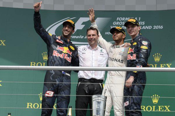 F1 2016 HOCKENHEIM Le podium avec HAMILTON-RICCIARDO et VERSTAPPEN.