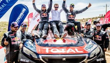 SILK WAY RALLY 2016 - LA MAGNIFIQUE VICTOIRE DU 2008 DKR PEUGEOT de CYRIL DESPRES et DAVID CASTERA avec le patron BRUNO FAMIN