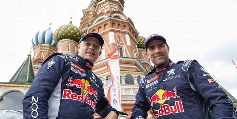 100 STEPHANE PETERHANSEL ( FRA ) JEAN PAUL  COTTRET ( FRA ) TEAM PEUGEOT TOTAL PEUGEOT 2008 DKR ambiance during the Silk Way 2016 Rally , Start podium at the red square from July  8 at Moscow , Russia - Photo Florent Gooden / DPPI
