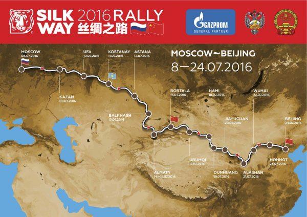 SILK WAY RALLY 2016 - Le parcours entre MOSCOU et PÉKIN.