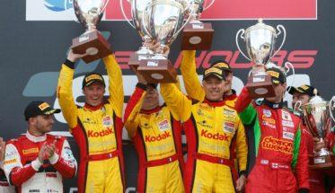 24 HEURES de SPA 2016 1ére place sur le podium PRO AM pour les pilotes de la PORSCHE IMSA KODAK  Photo V IMAGES