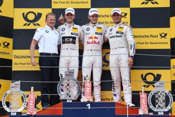 DTM 2016 - MOSCOU - Les pilotes des BMW M4 avec MARCO WITTMANN victorieux le dimanche 21 aout de la seconde course devant BLOMQVIST et SPENGLER.