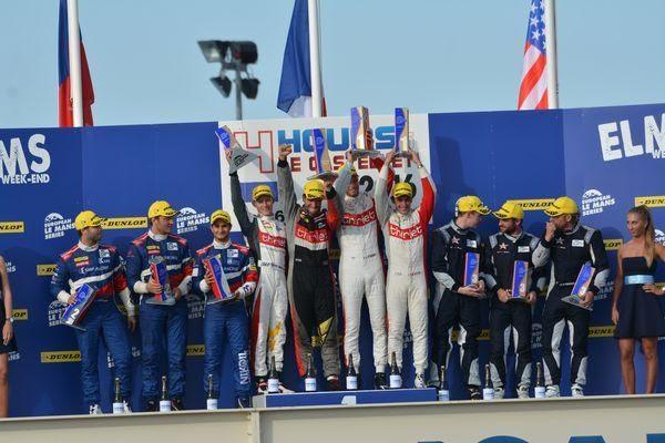 ELMS 2016 PAUL RICARD Dimanche 28 aout - Les trois équipages victorieux sur le podium avec les vainqueurs de l'équipe THIRIET by TDS - Photo Nicolas PALUDETTO.