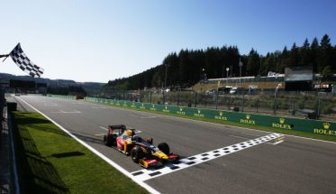 Antonio Giovinazzi (ITA, PREMA Racing) crosses the line to win in Spa 2016 GP2 Series Round 6 Spa-Francorchamps, Spa, Belgium Sunday 28 August 2016  Photo: /GP2 Series Media Service ref: Digital Image _SLA5036
