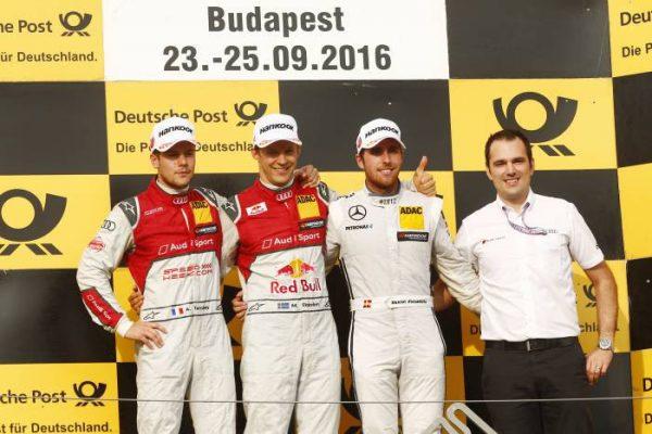 DTM-2016-BUDAPEST-le-podium-de-la-seconde-course-avec-Mattias-EKSTROM-vainqueur-devant-Adrien-TAMBAY-et-Daniel-JUNCADELLA