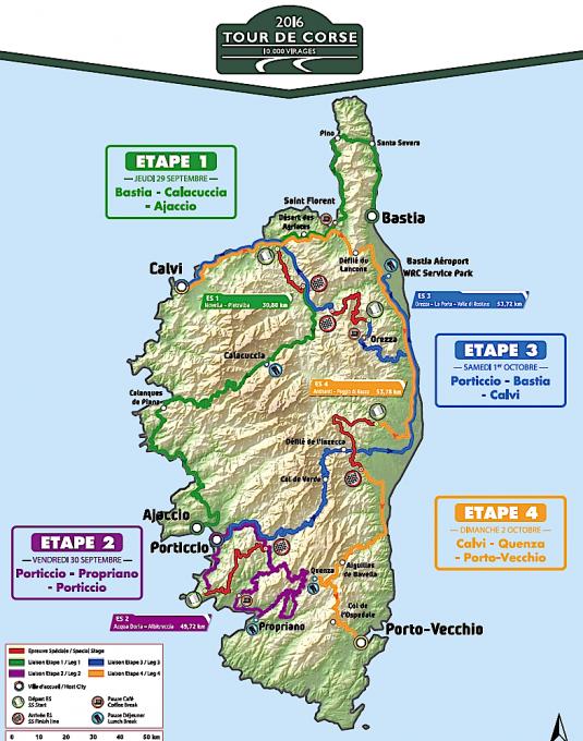 WRC 2026 - TOUR DE CORSE - Le parcours