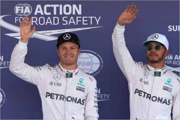 F1 2016 MEXICO HAMILTON EN POLE devant ROSBERG.