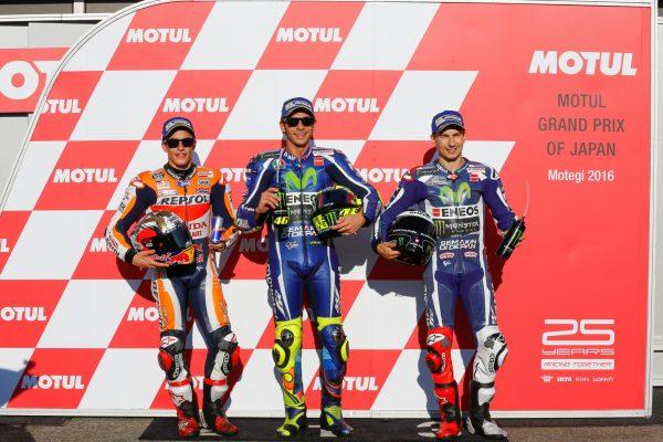 MOTO GP 2016 MOTEGI -Ca bagarre entre Jorge LORENZO, Valentino ROSSI, VINALES et MARQUEZ.