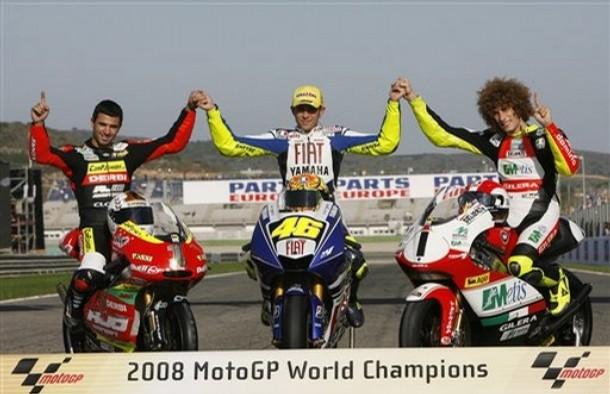 LES CHAMPIONS DU MONDE 2008,DI MEGLIO,ROSSI ET SIMONCELLI