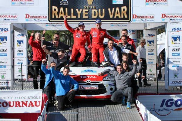 rallye du Var 2016ROSSEL-FULCRAND et leur équipe vainqurur du CITROEN Trophy 2016 photo Jean-François THIRY