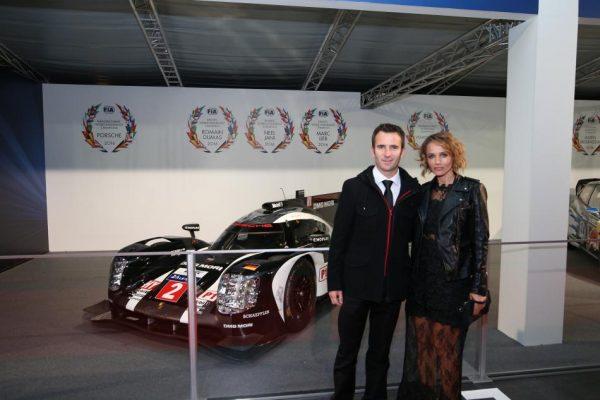 FIA REMISE DES PRIX 2016 à VIENNE le vendredi 2 décembre ROMAIN DUMAS et sa femme ELYSIA.