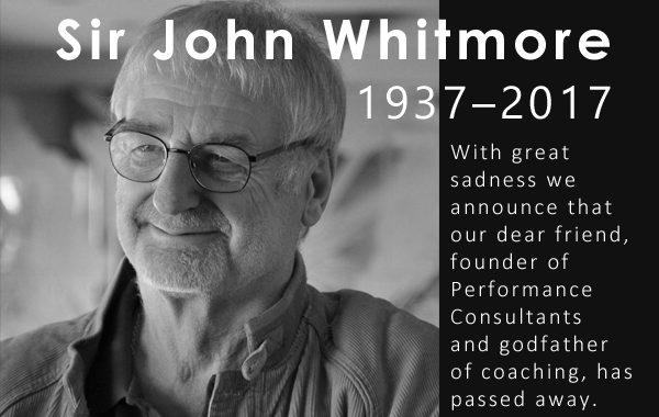 "Sir John Whitmore (1937–2017) fondateur de ""Performance Consultants International"""