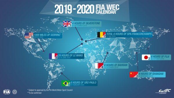 le nouveau calendrier du championnat du monde d endurance wec 2019 2020 autonewsinfo. Black Bedroom Furniture Sets. Home Design Ideas